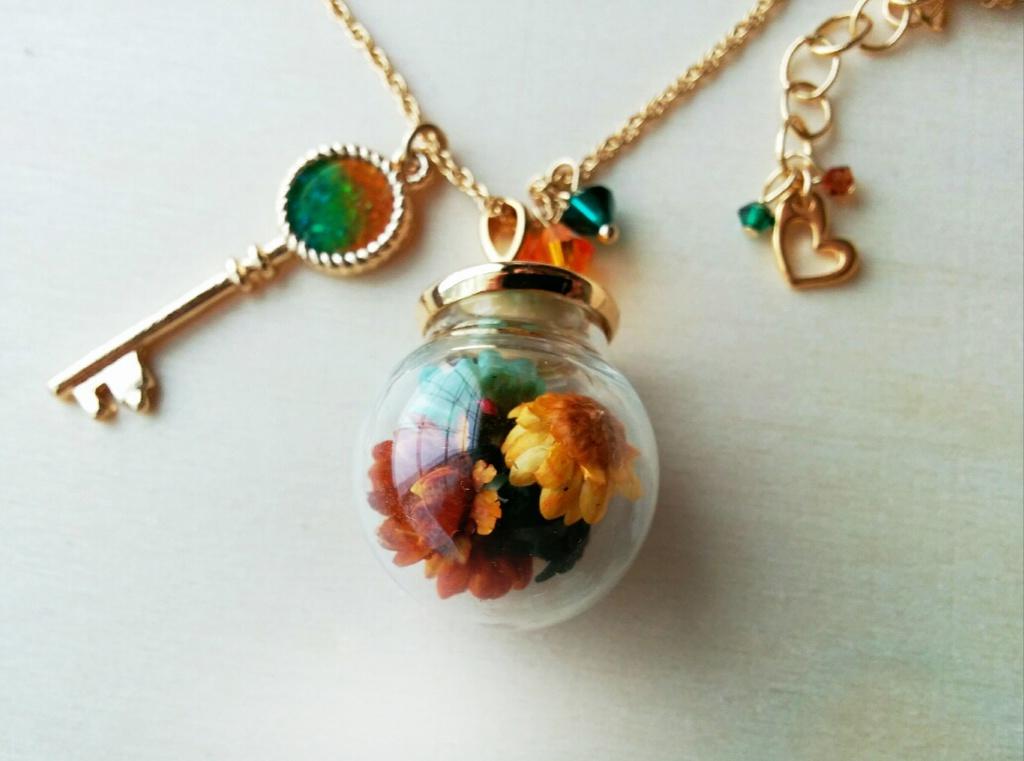 【高緑】ガラスドームネックレス・フラワー