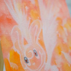 水彩手描き原画◆ウサジェル◆ポストカード