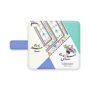 猫と幾何学模様モチーフ手帳型iPhoneケース