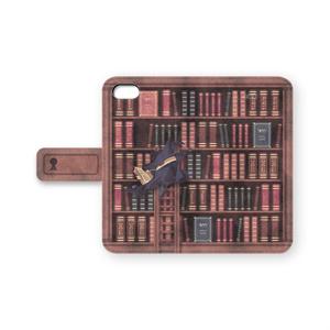 図書館の手帳型iPhoneケース(茶/紫/灰)