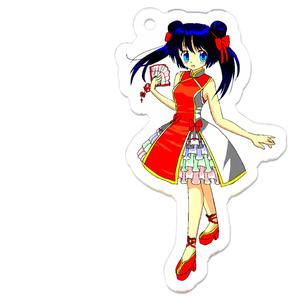 レトロなデジタルカラーのチャイナ少女