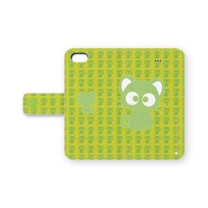 黒猫りっちー君手帳型iPhoneケース(イエローグリーン)
