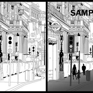 マンガ背景素材(イギリス ロンドン 高級住宅街地下鉄入口)A-002