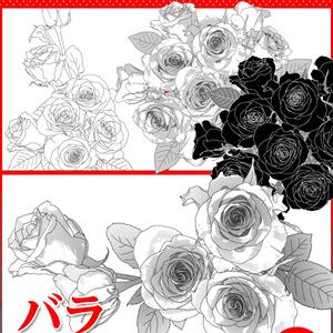 マンガ素材(バラ 薔薇 ローズ 花束 ブーケ アレンジ アレンジメント 花 結婚 ガーデン 背景)