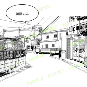 マンガ背景素材(自動販売機のある住宅街 街並み 日本)