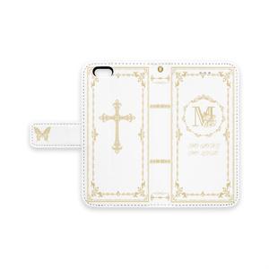 Mの聖書風iPhone6カバー手帳型ケース 白
