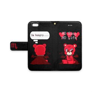 デビくま 手帳型iPhone6 / 6s - ストラップ穴 あり 黒