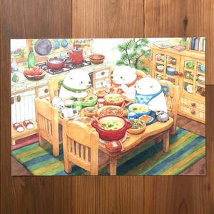 B4イラスト「仲良し兄弟の楽しい食卓」