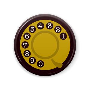 黒電話缶バッジ Black Phone