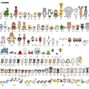 シンプルイラスト素材集動物1set 動物魚類昆虫編[動物150点収録×2種]