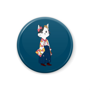 袴ねこ 青 缶バッチ
