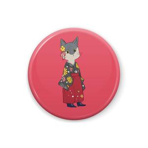 袴ねこ 赤 缶バッチ