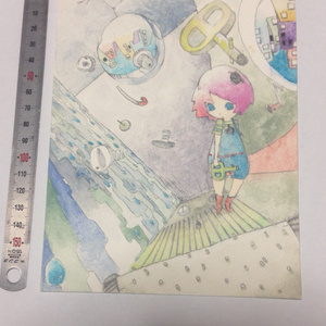 水彩色鉛筆画 原画 軋む街