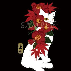 ポストカード白猫と椿