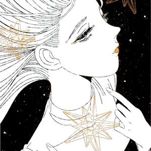 [ポストカード] The girls(黒×金インク)