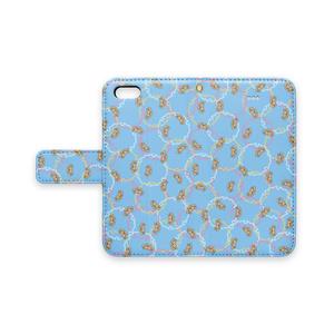 プードル雪輪小紋(水色)iPhoneカバー