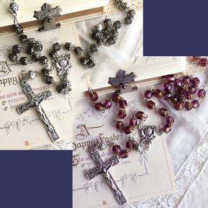 【 ふたりのロザリオ 】ミニチュアローズ - ivory black & plum purple -