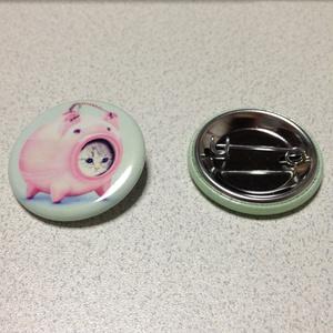 【雑貨】缶バッジ:かとりにゃんこう2 #Antique style 2