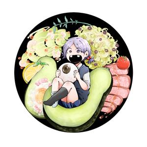 A澤さんアボカドプレート缶バッジ