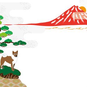 赤富士と柴犬の和風グリーティングカード