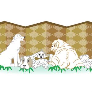 犬と猫の和風グリーティングカード