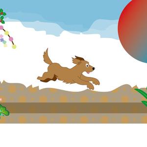 元気に走る犬の和風ポストカード
