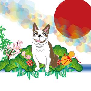 ポップな犬と松竹梅と日の出のポストカード