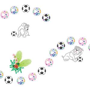 犬とサッカーボールの年賀状テンプレート