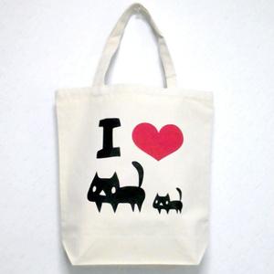 I LOVE 黒ネコ キャンバストートバッグ(ナチュラル)