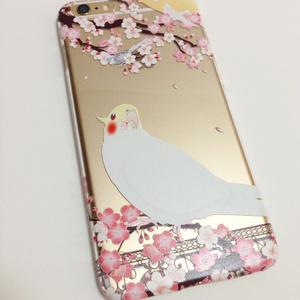 【iPhone7】オカメインコ クリアケース【花桜】
