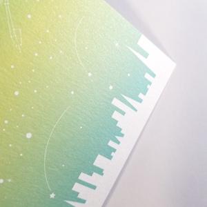 楽器の星空ポストカード みどり