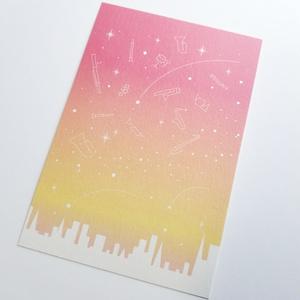 楽器の星空ポストカード ピンク