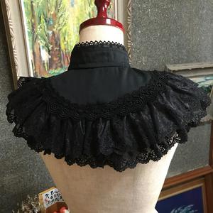 クラシカル付け襟ティペット・アントワーヌ(黒)