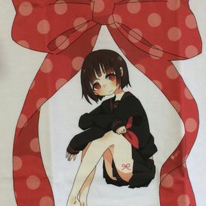 Tシャツ_黒と赤(直筆イラストカード付き)