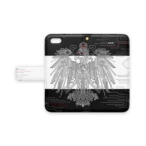 プロイセン iPhoneケース 黒×白(ストラップ穴あり