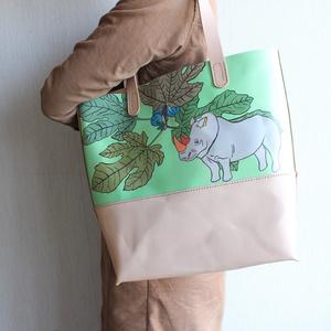 手縫い手描きのトートバック /  サイといちじく