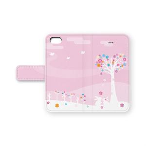 うさぎカップルiPhone手帳型ケース ピンク