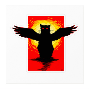BLACK CAT with wings ステッカー