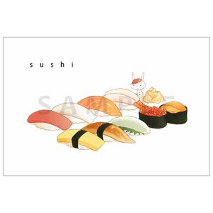 うさぎとお寿司のポストカード