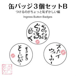 吉日空歩き缶バッジ3個セットB