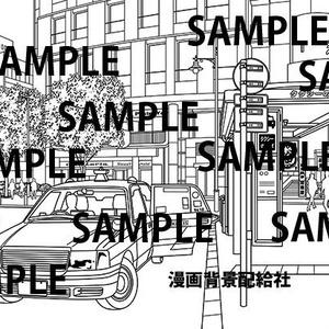 漫画背景素材「駅前タクシー乗り場」