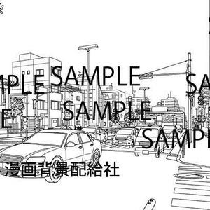 漫画背景素材「道路(車道)と横断歩道」
