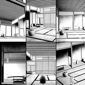 コミスタ・クリスタ用_背景素材・和室6点セット