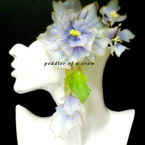 和風髪飾り/大 薄白×薄紫 一個のみ