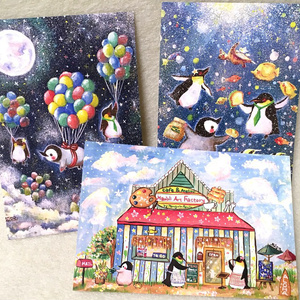 【ポストカード】ハウオリぺんぎん家族のポストカードセット