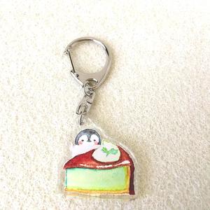 【アクキー】甘党ペンギンさんのアクリルキーホルダー(チョコミントケーキ)