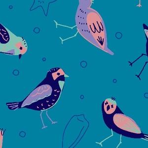 海辺の鳥たち(ブルー)