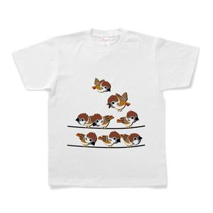 電線すずめTシャツ