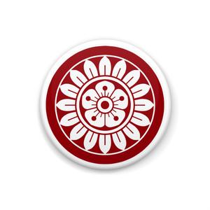 イーピン缶バッジ(白×赤)