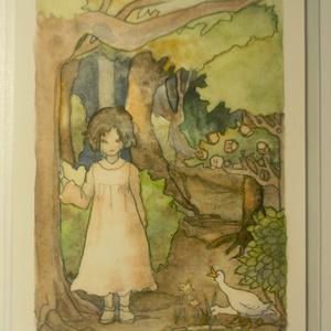 「森の小道」水彩ポストカード#01